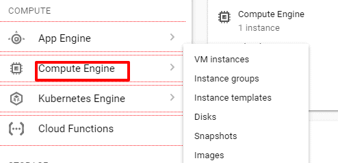 Google Engine VM instances Menu